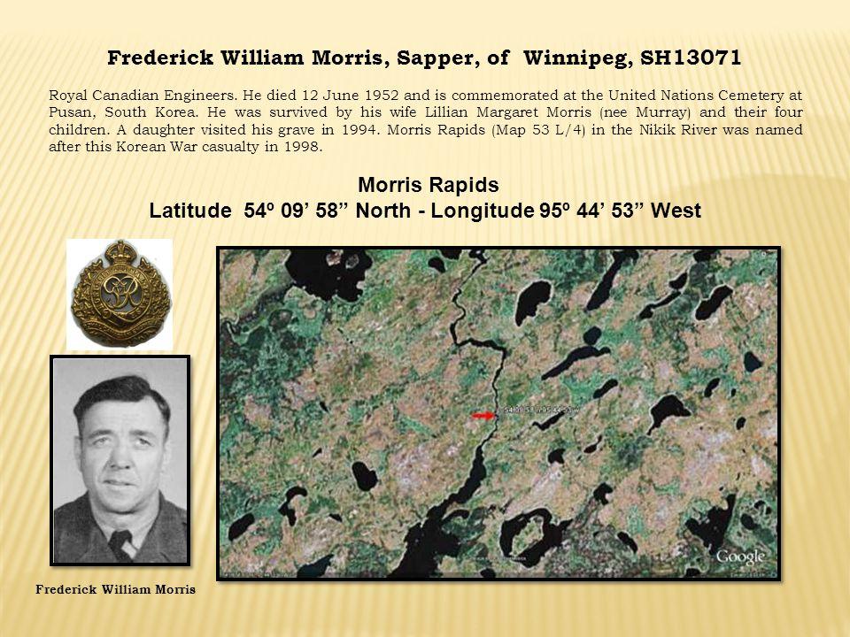 Frederick William Morris, Sapper, of Winnipeg, SH13071