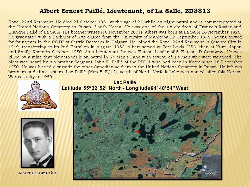 Albert Ernest Paillé, Lieutenant, of La Salle, ZD3813