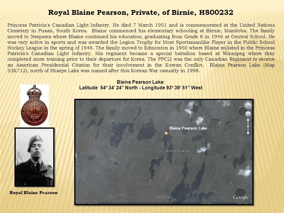 Royal Blaine Pearson, Private, of Birnie, H800232