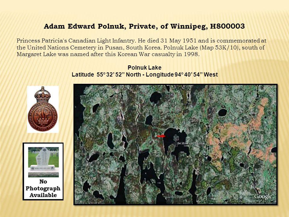 Latitude 55º 32' 52 North - Longitude 94º 40' 54 West