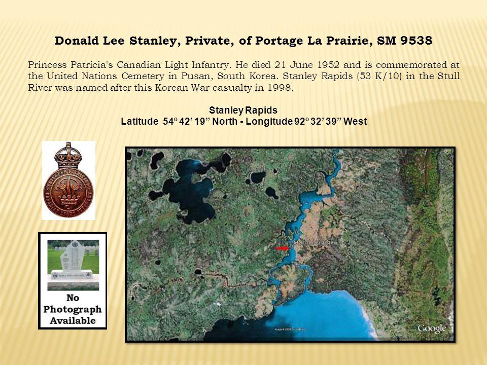 Donald Lee Stanley, Private, of Portage La Prairie, SM 9538