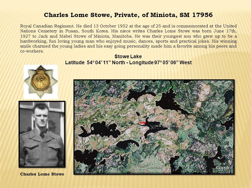 Charles Lome Stowe, Private, of Miniota, SM 17956