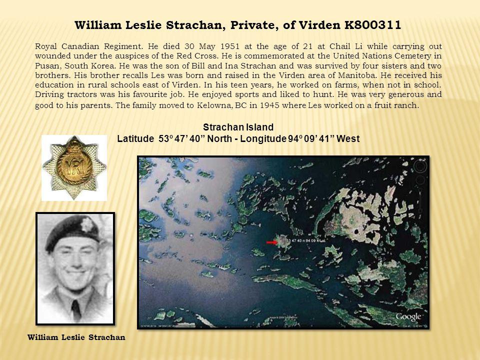 William Leslie Strachan, Private, of Virden K800311