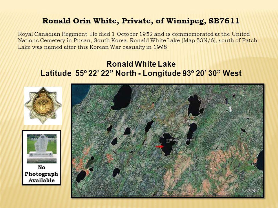 Ronald Orin White, Private, of Winnipeg, SB7611