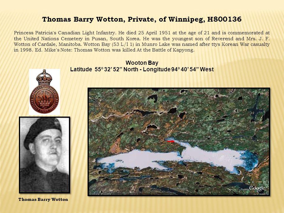 Thomas Barry Wotton, Private, of Winnipeg, H800136