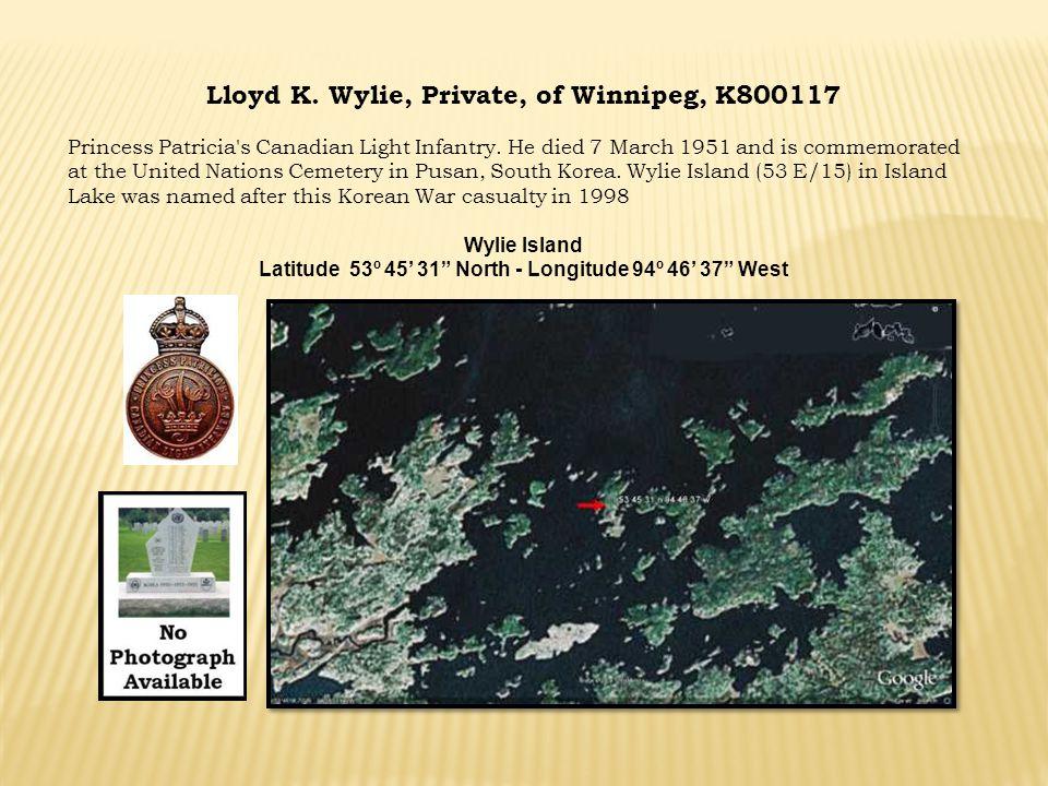 Lloyd K. Wylie, Private, of Winnipeg, K800117