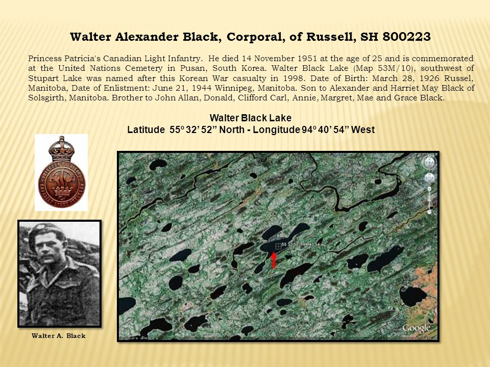 Walter Alexander Black, Corporal, of Russell, SH 800223