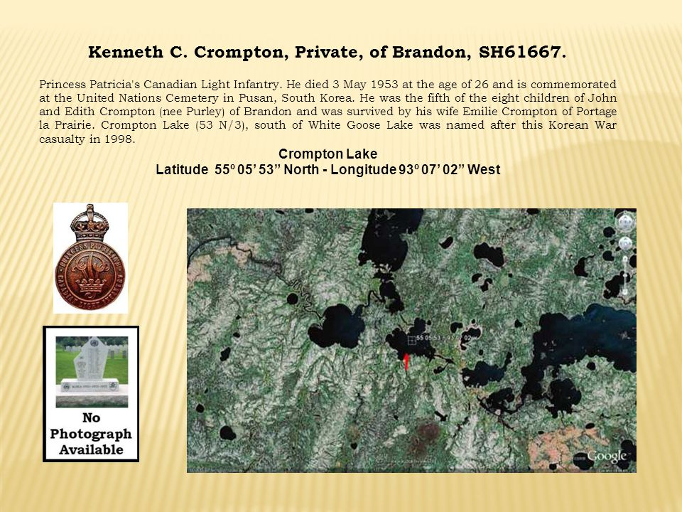 Kenneth C. Crompton, Private, of Brandon, SH61667.