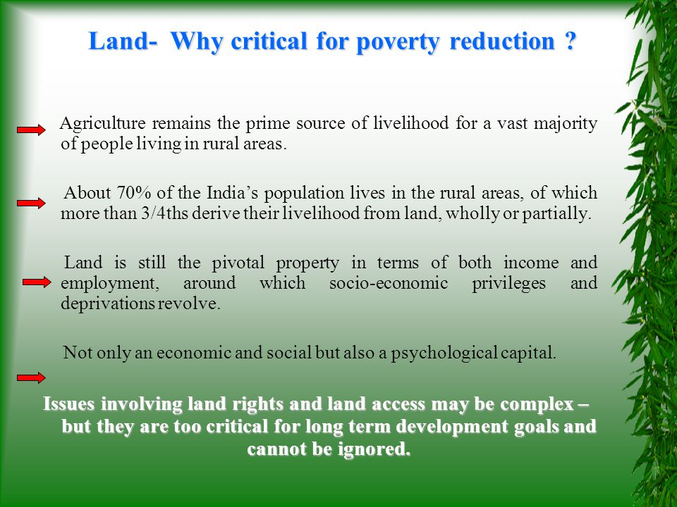 Land- Why critical for poverty reduction
