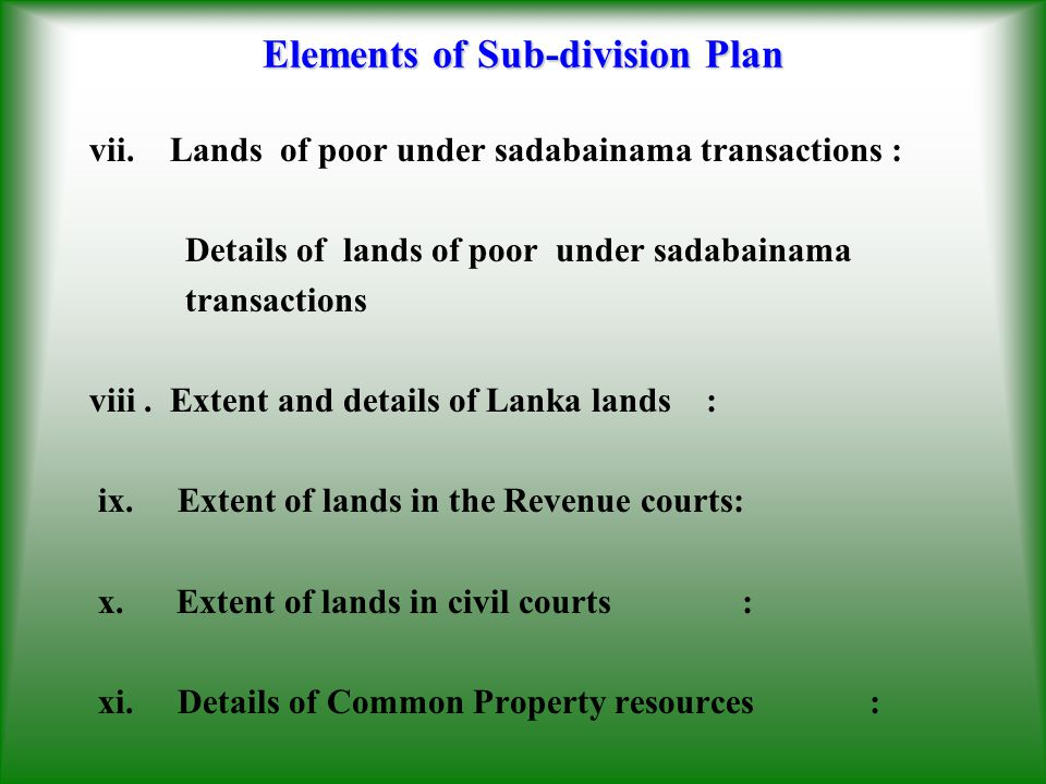Elements of Sub-division Plan
