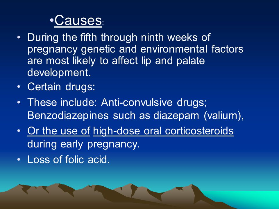 Causes: During the fifth through ninth weeks of pregnancy genetic and environmental factors are most likely to affect lip and palate development.