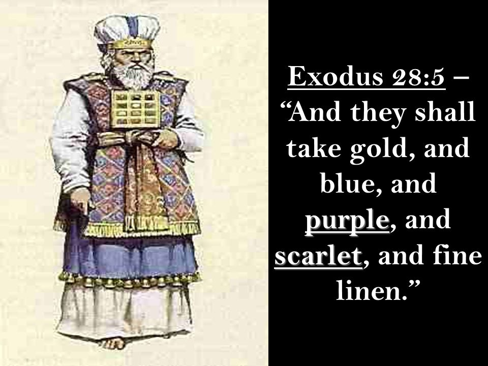 Exodus 28:5 – And they shall take gold, and blue, and purple, and scarlet, and fine linen.
