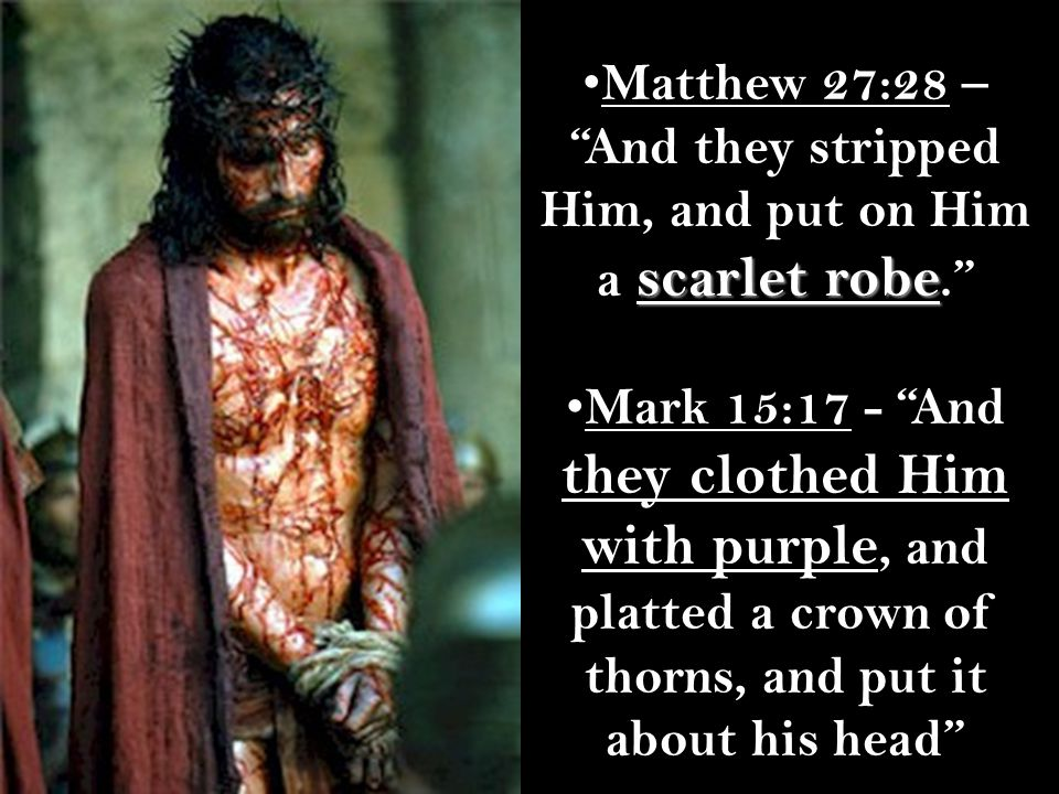 Matthew 27:28 – And they stripped Him, and put on Him a scarlet robe