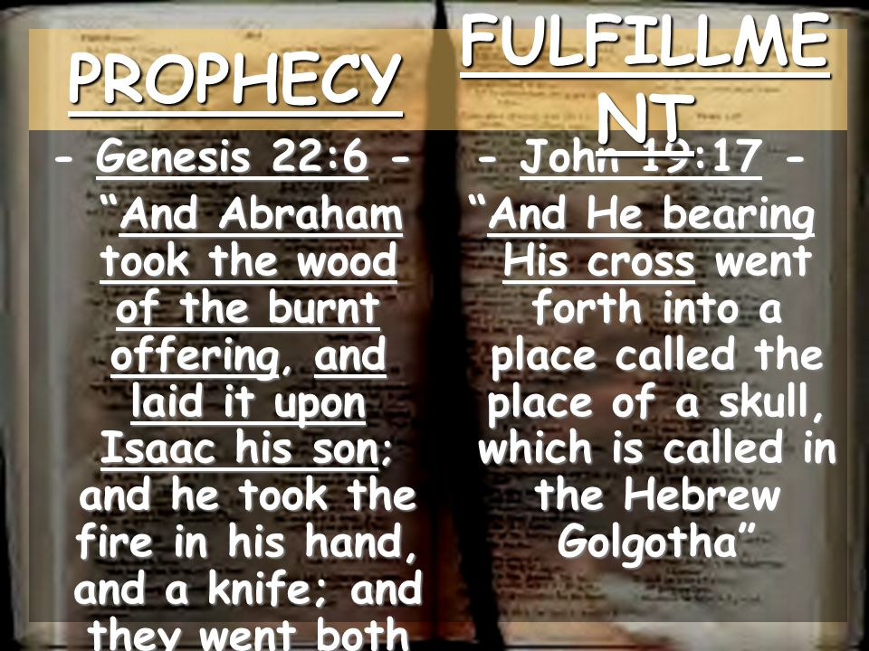 PROPHECY FULFILLMENT - Genesis 22:6 -