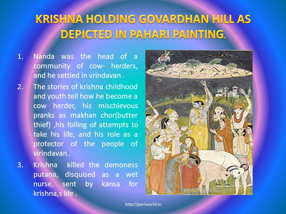 KRISHNA HOLDING GOVARDHAN HILL AS DEPICTED IN PAHARI PAINTING.