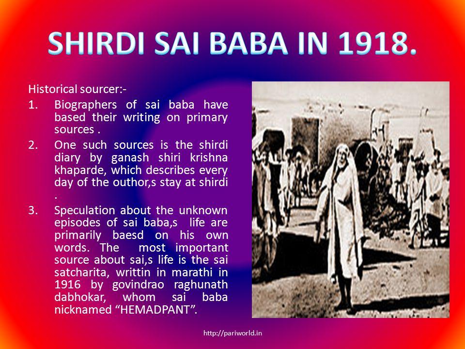 SHIRDI SAI BABA IN 1918. Historical sourcer:-