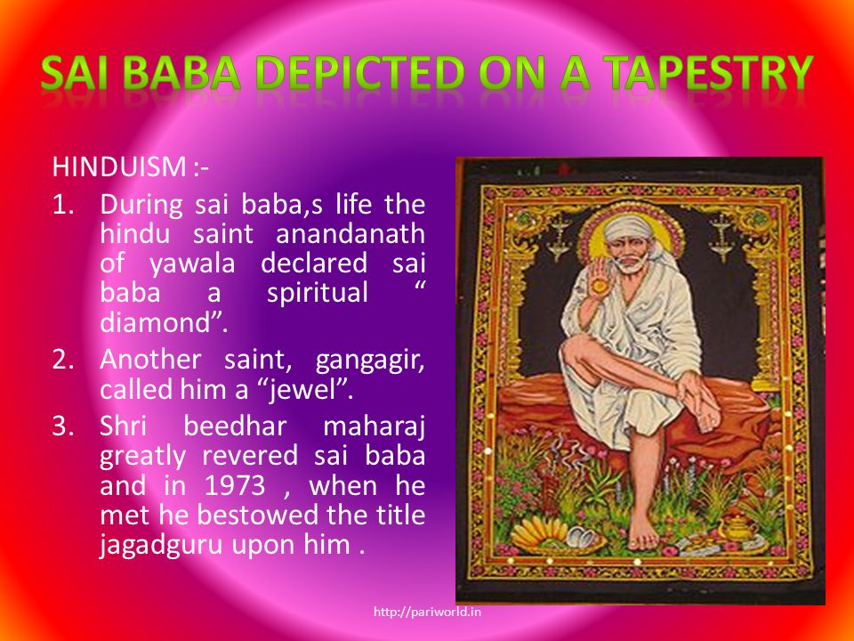 Sai baba depicted on a tapestry