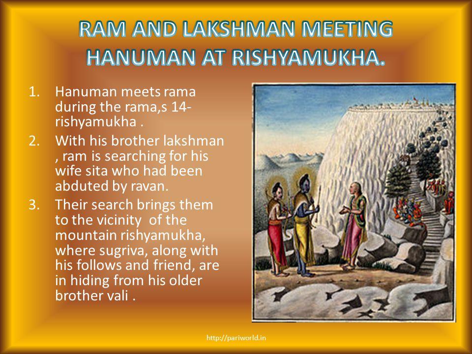 RAM AND LAKSHMAN MEETING HANUMAN AT RISHYAMUKHA.