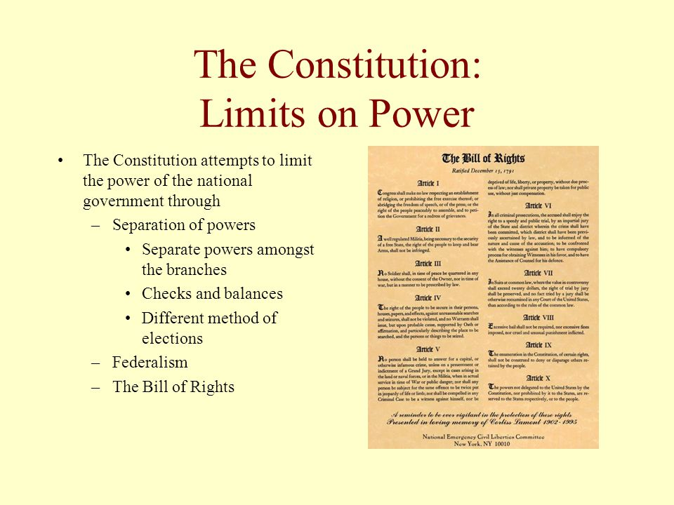 The Constitution: Limits on Power