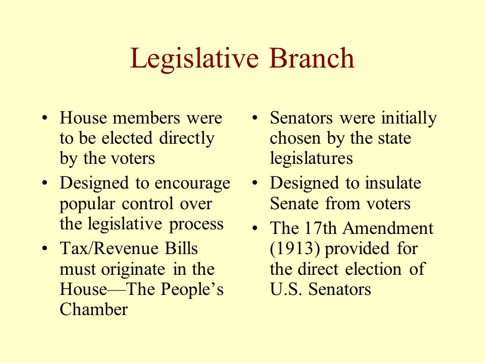 Legislative Branch House members were to be elected directly by the voters. Designed to encourage popular control over the legislative process.