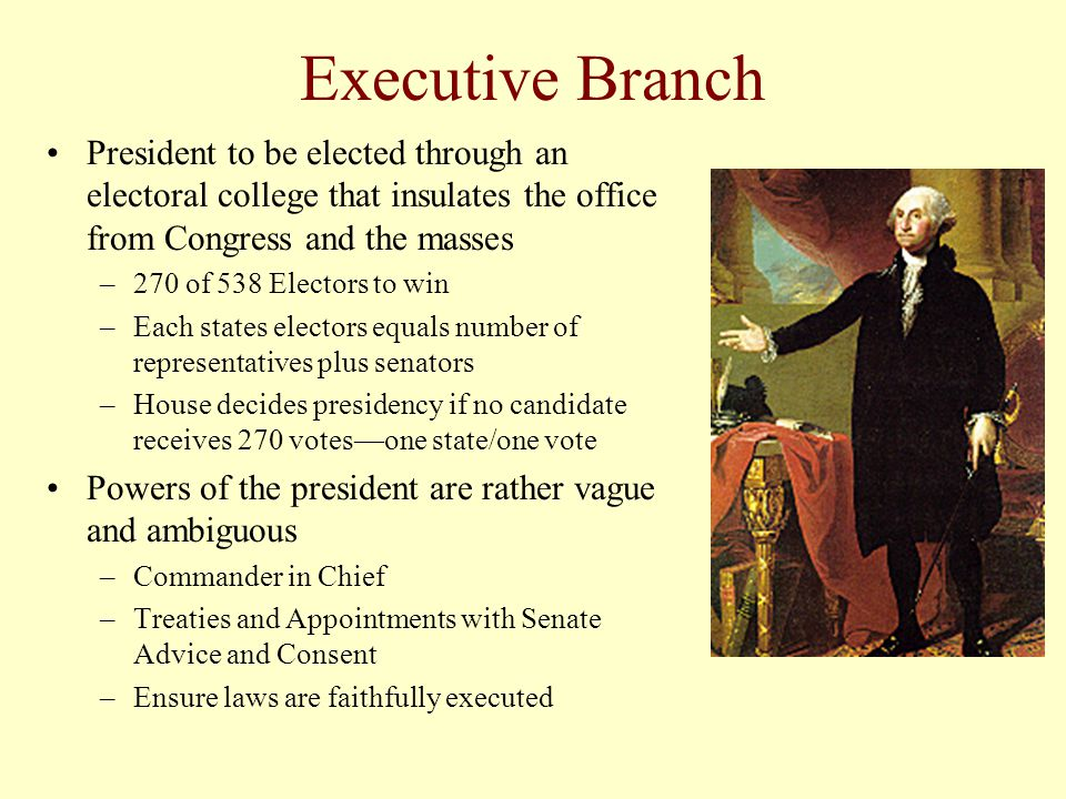 Executive Branch President to be elected through an electoral college that insulates the office from Congress and the masses.