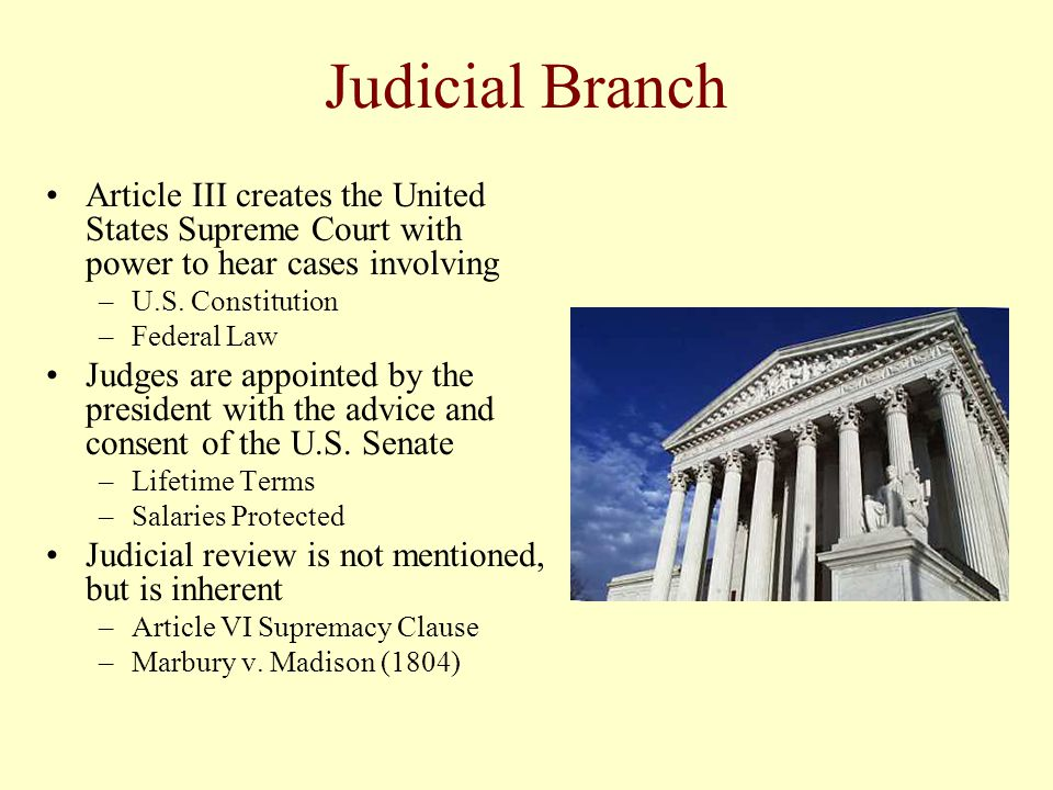 Judicial Branch Article III creates the United States Supreme Court with power to hear cases involving.