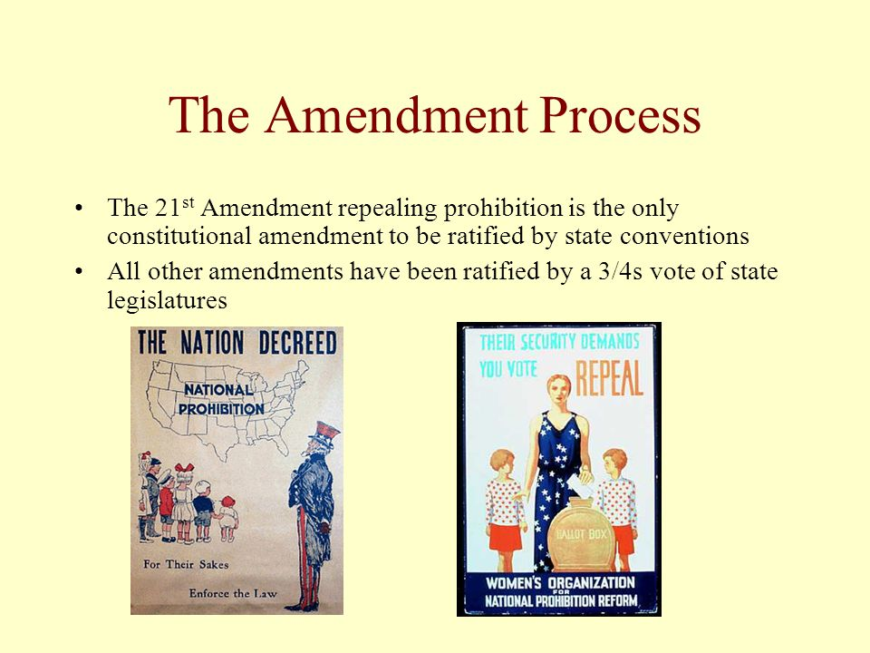 The Amendment Process The 21st Amendment repealing prohibition is the only constitutional amendment to be ratified by state conventions.