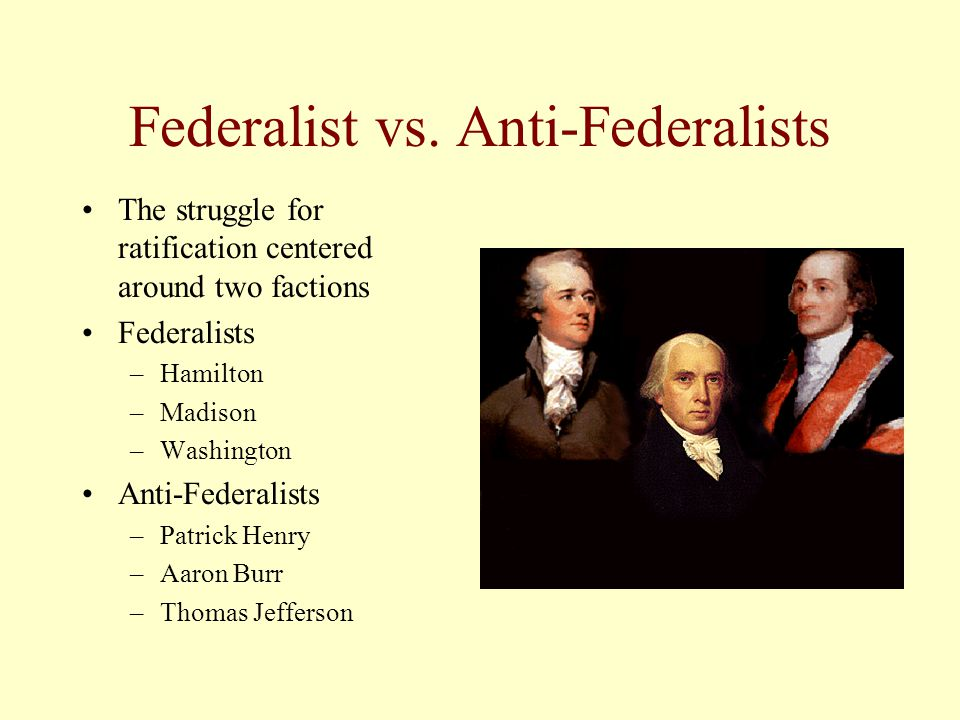 Federalist vs anti federalist perspectives on the