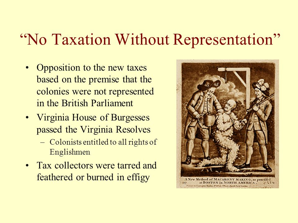 No Taxation Without Representation