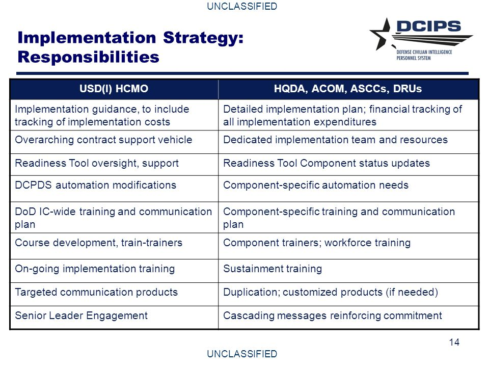 Implementation Strategy: Responsibilities