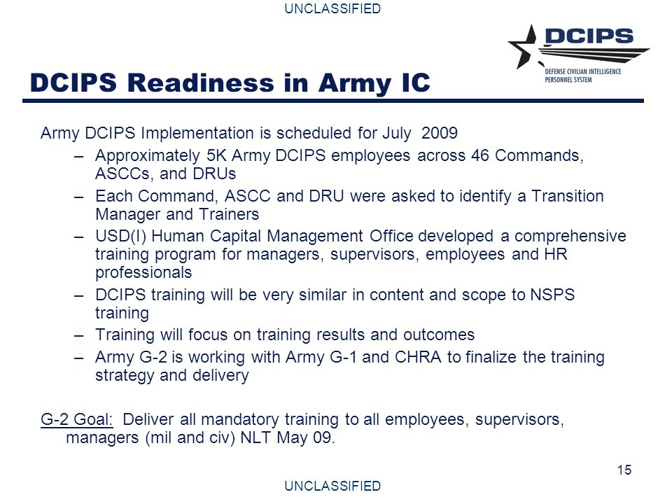 DCIPS Readiness in Army IC