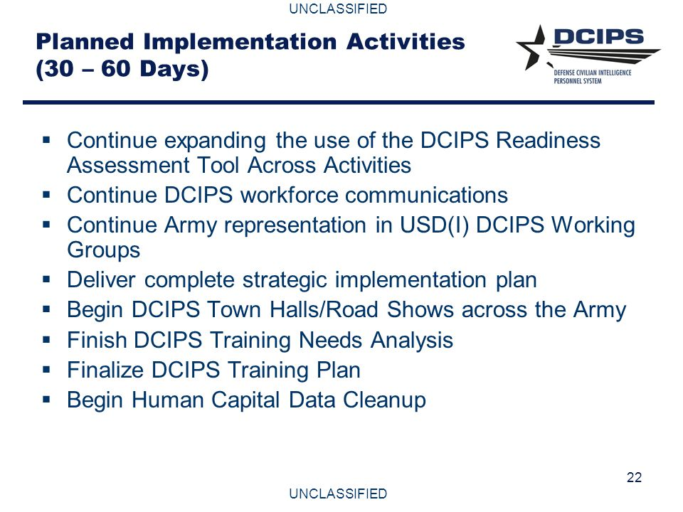 Planned Implementation Activities (30 – 60 Days)