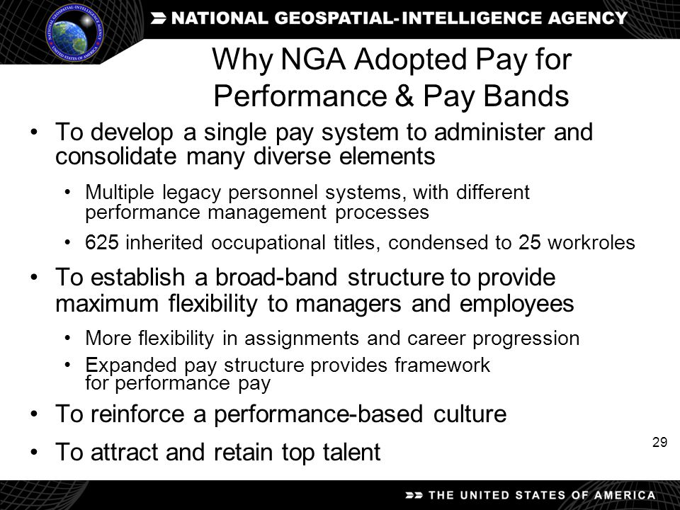 Why NGA Adopted Pay for Performance & Pay Bands
