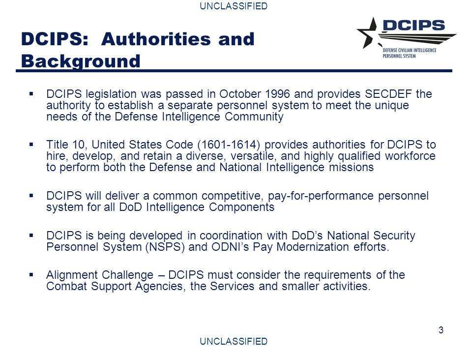 DCIPS: Authorities and Background