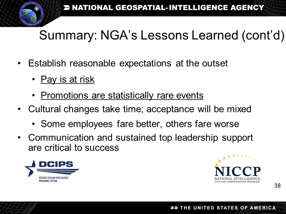 Summary: NGA's Lessons Learned (cont'd)