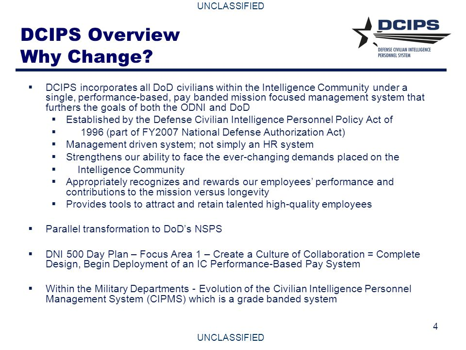 DCIPS Overview Why Change