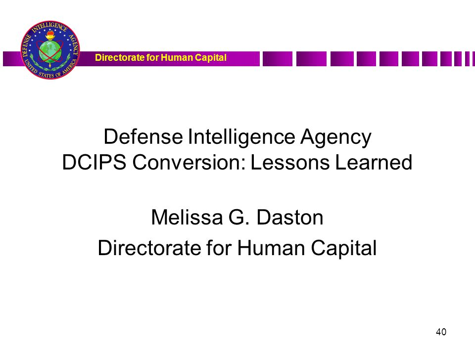 Defense Intelligence Agency DCIPS Conversion: Lessons Learned