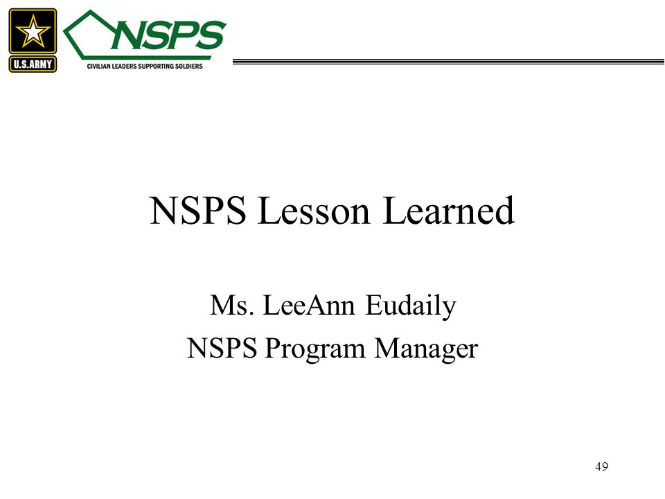 Ms. LeeAnn Eudaily NSPS Program Manager