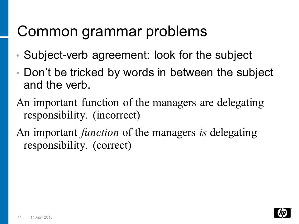 Common grammar problems
