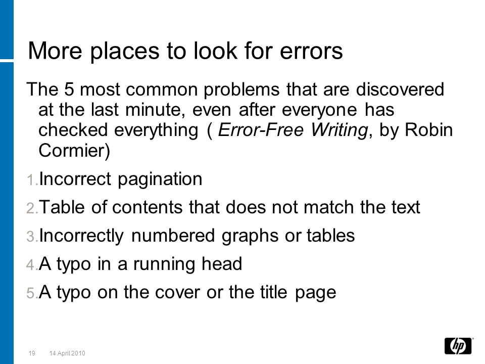 More places to look for errors