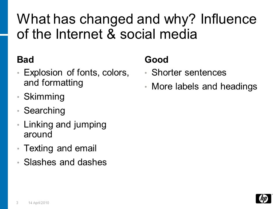 What has changed and why Influence of the Internet & social media