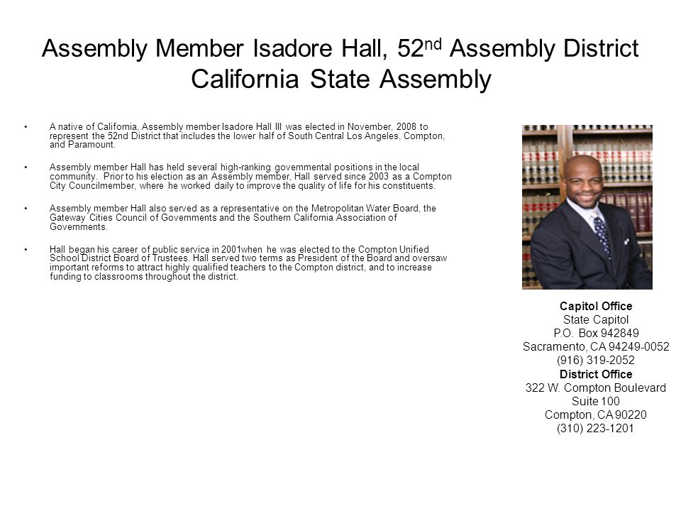 Assembly Member Isadore Hall, 52nd Assembly District California State Assembly