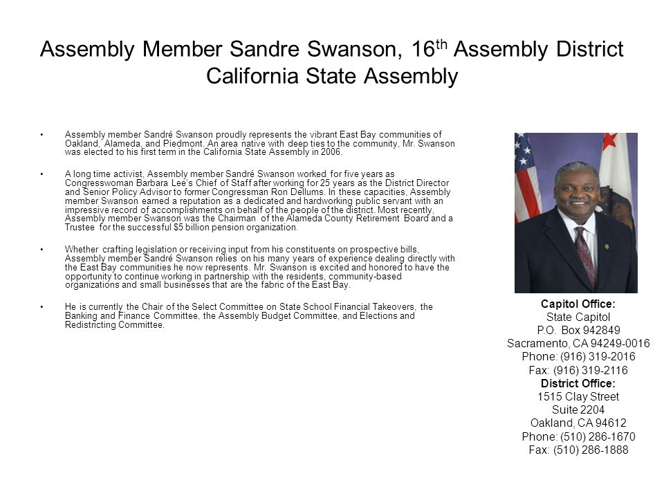 Assembly Member Sandre Swanson, 16th Assembly District California State Assembly