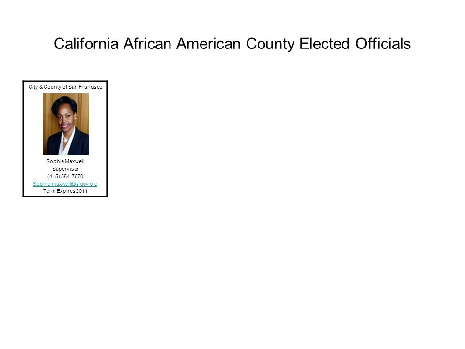 California African American County Elected Officials