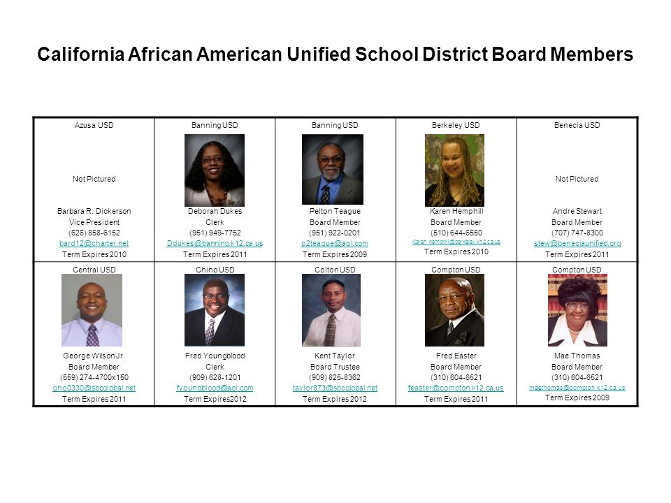California African American Unified School District Board Members