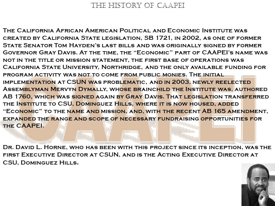 The History Of CAAPEI