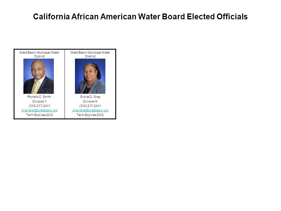 California African American Water Board Elected Officials