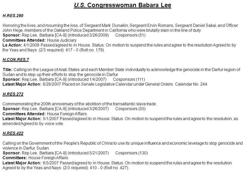 U.S. Congresswoman Babara Lee
