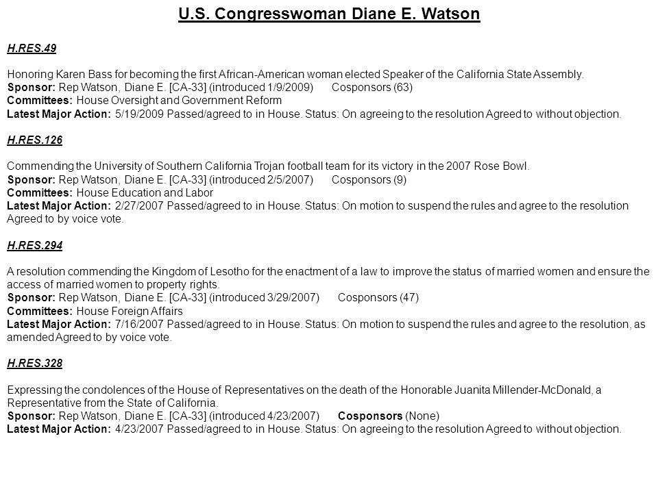 U.S. Congresswoman Diane E. Watson