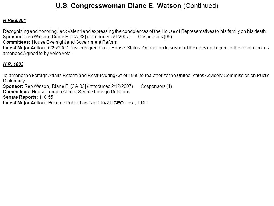 U.S. Congresswoman Diane E. Watson (Continued)